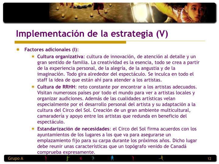 Implementación de la estrategia (V)