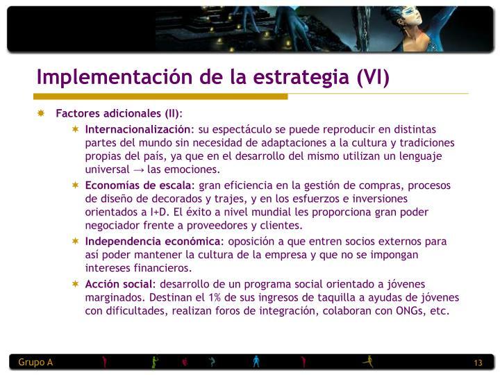 Implementación de la estrategia (VI)