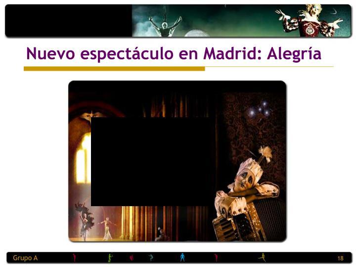 Nuevo espectáculo en Madrid: Alegría