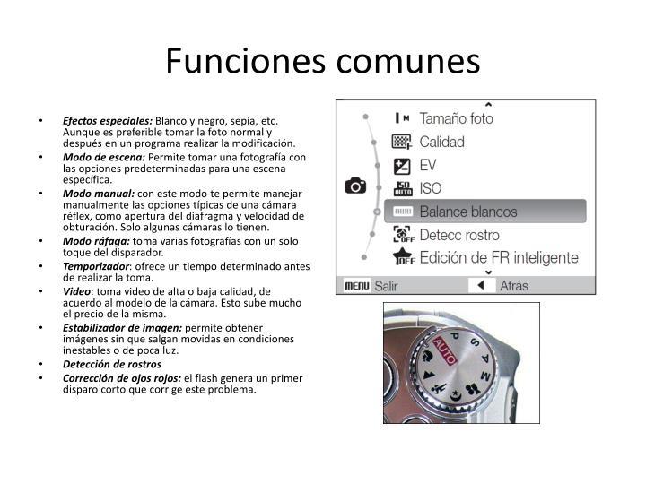 Funciones comunes