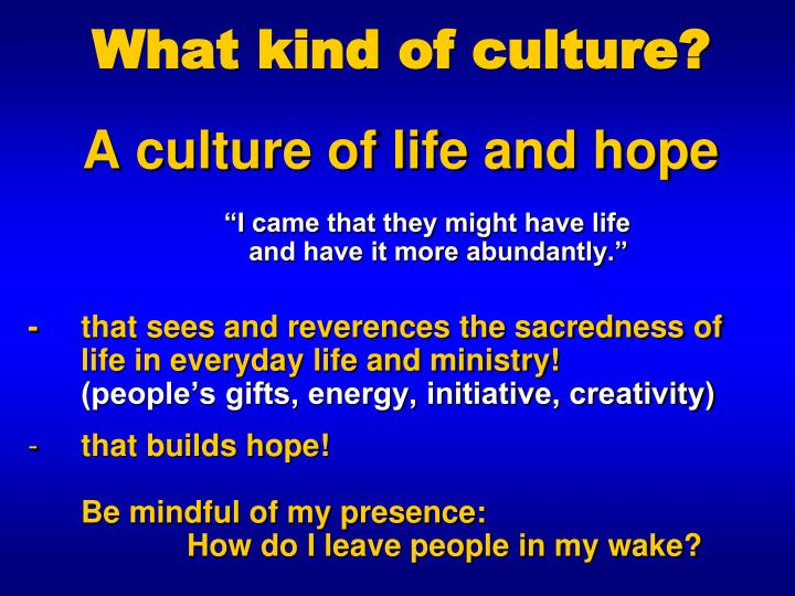 What kind of culture?