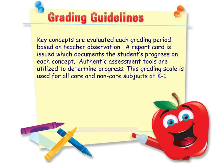 Key concepts are evaluated each grading period based on teacher observation.  A report card is issued which documents the student's progress on each concept.  Authentic assessment tools are utilized to determine progress. This grading scale is used for all core and non-core subjects at K-1.