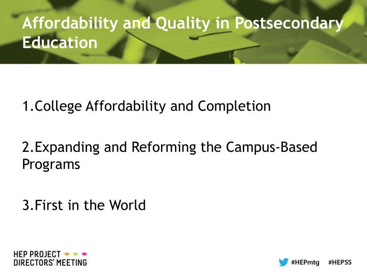 Affordability and Quality in Postsecondary Education