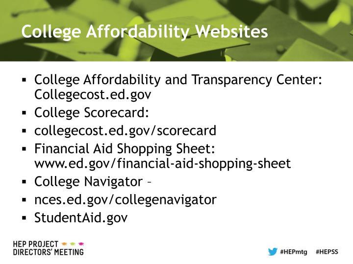 College Affordability Websites