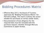 bidding procedures matrix