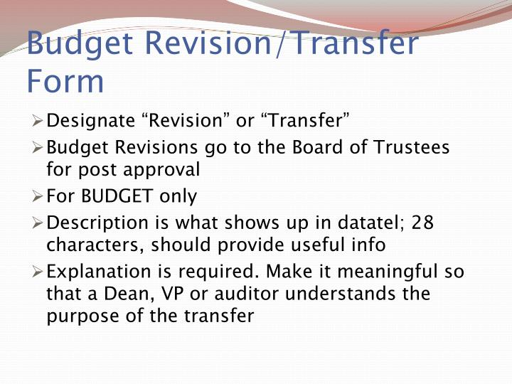 Budget Revision/Transfer Form