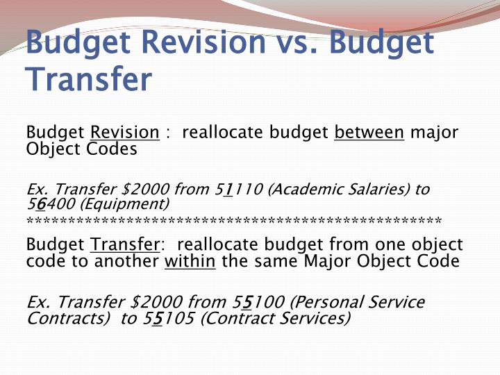 Budget Revision vs. Budget Transfer