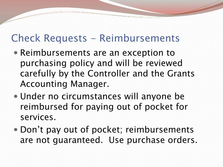 Check Requests - Reimbursements
