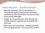 check requests reimbursements