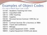 examples of object codes first digit of major object code in bold