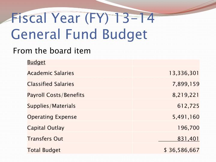 Fiscal Year (FY) 13-14 General Fund Budget