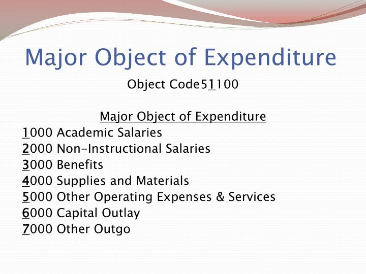 Major Object of Expenditure