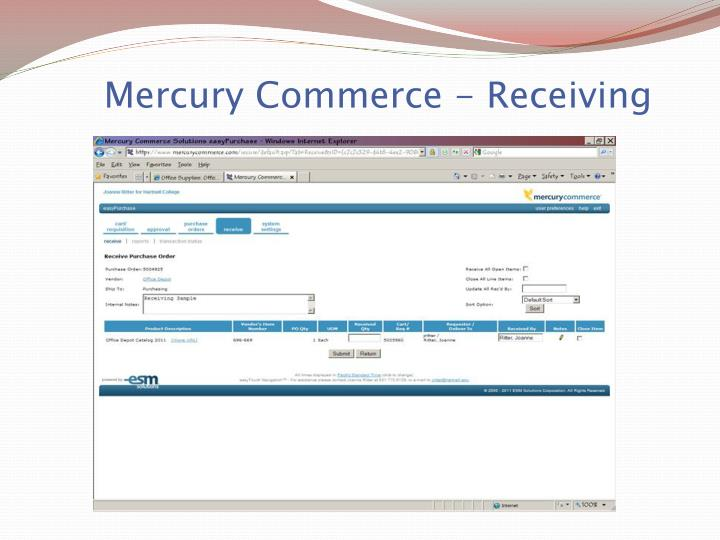Mercury Commerce - Receiving