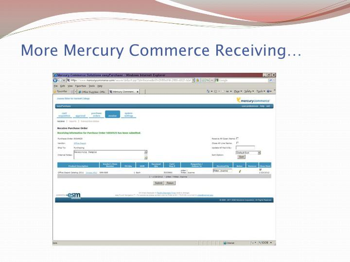 More Mercury Commerce Receiving…