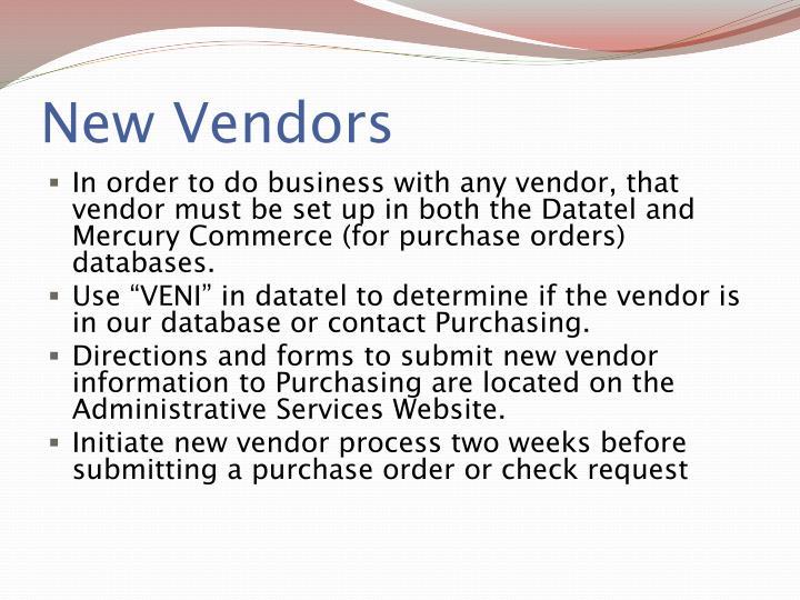 New Vendors