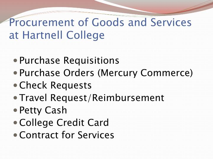 Procurement of Goods and Services at Hartnell College