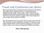 travel and conference per diems