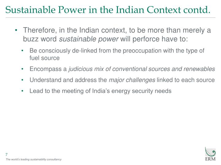 Sustainable Power in the Indian Context contd.