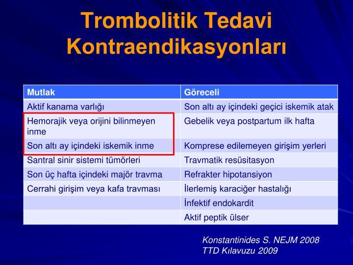 Trombolitik Tedavi Kontraendikasyonları