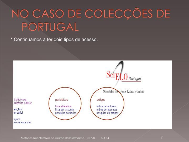 NO CASO DE COLECÇÕES DE PORTUGAL