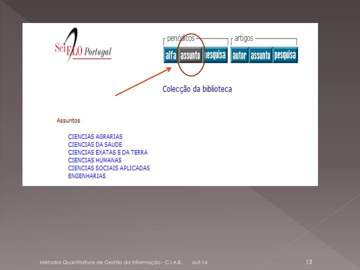 Métodos Quantitativos de Gestão da Informação - C.I.A.B.