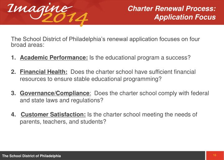 Charter Renewal Process:  Application Focus