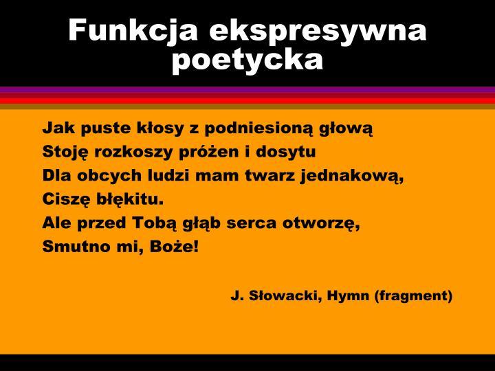 Funkcja ekspresywna poetycka