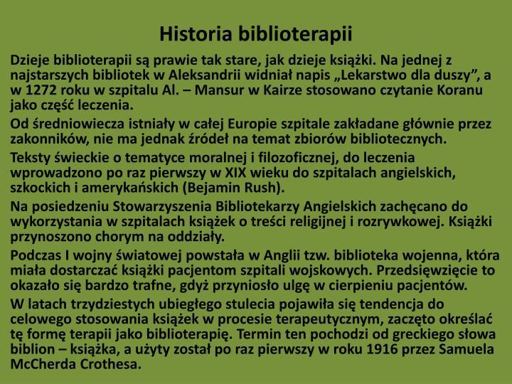 Historia biblioterapii