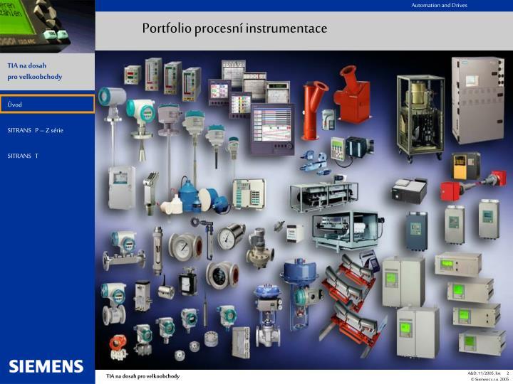 Portfolio procesní instrumentace