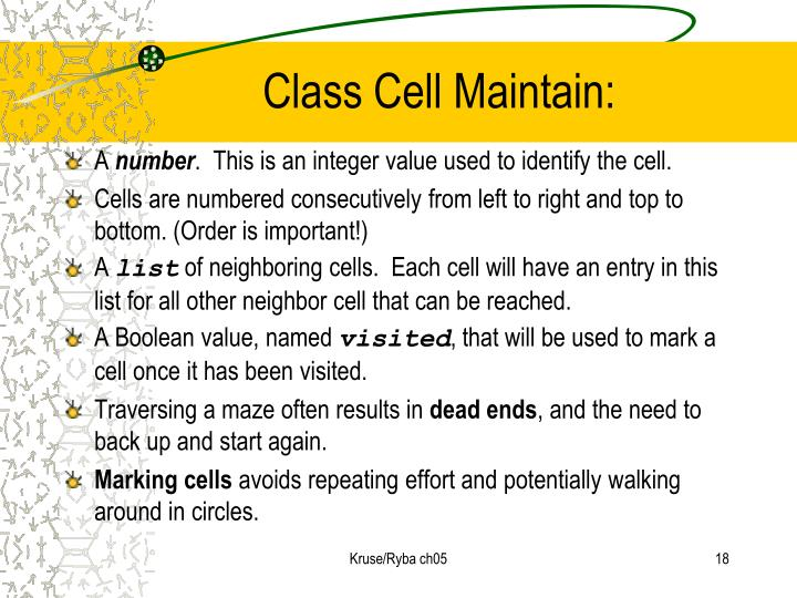 Class Cell Maintain: