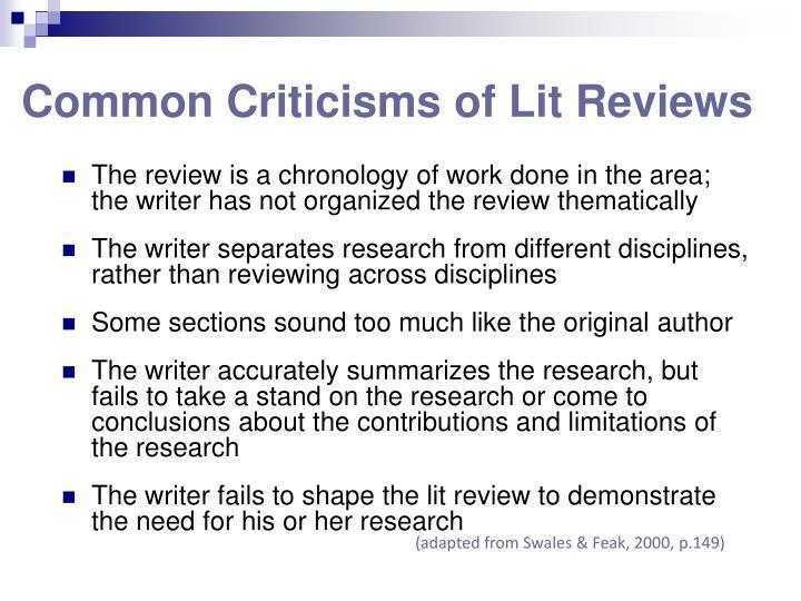 Common Criticisms of Lit Reviews