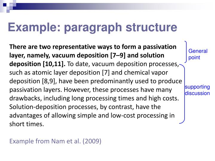 Example: paragraph structure