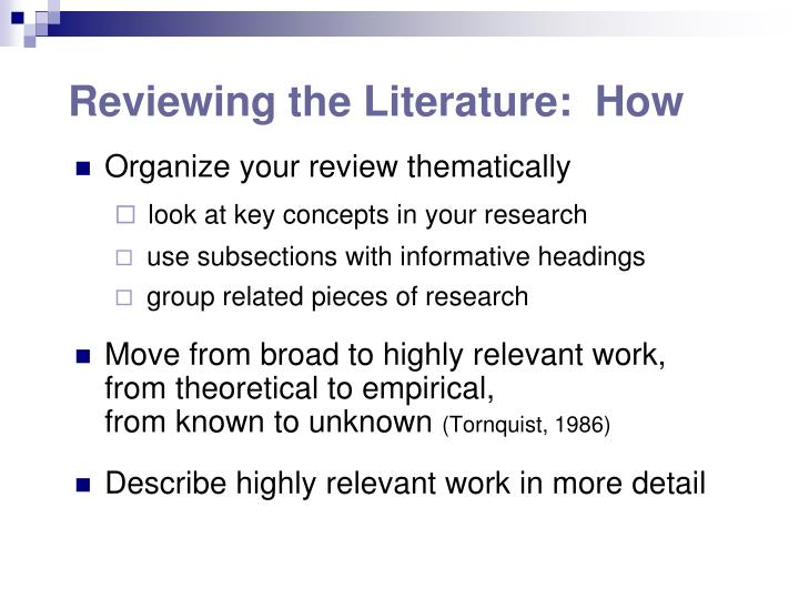 Reviewing the Literature:  How