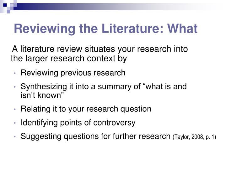 Reviewing the Literature: What