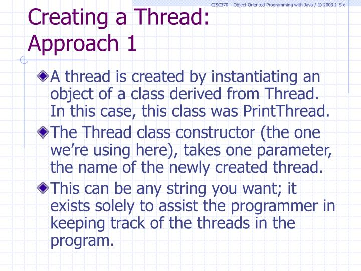 Creating a Thread: