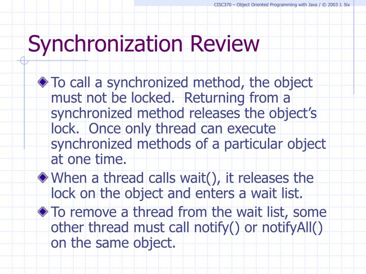 Synchronization Review