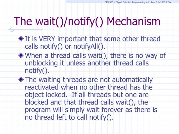The wait()/notify() Mechanism