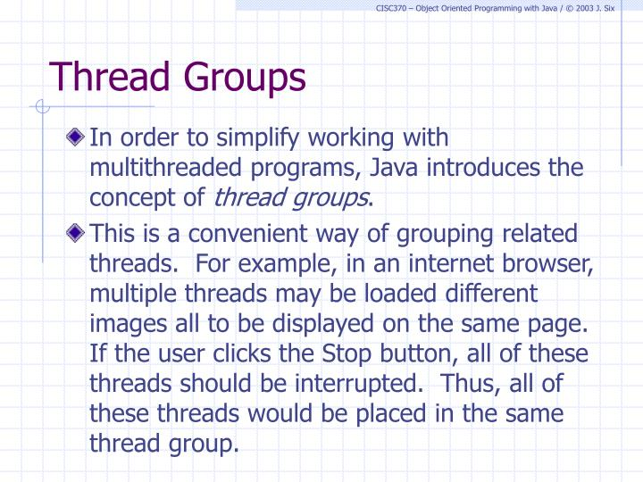 Thread Groups