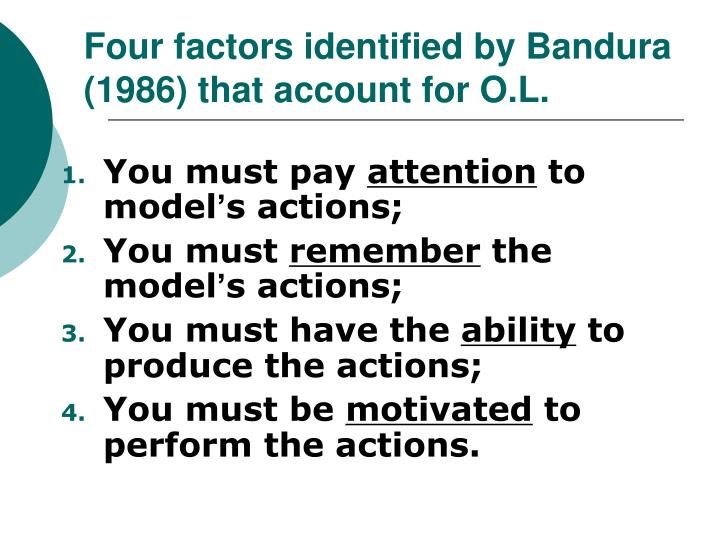 Four factors identified by Bandura (1986) that account for O.L.