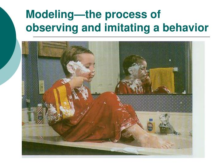 Modeling—the process of observing and imitating a behavior