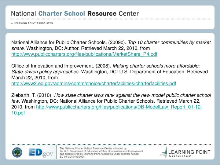 National Alliance for Public Charter Schools. (2009c).