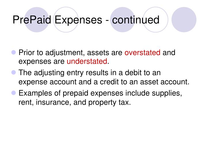 PrePaid Expenses - continued
