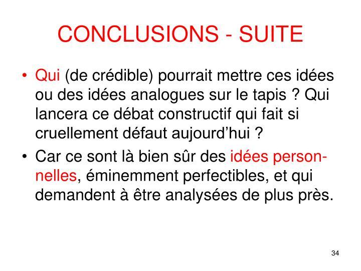 CONCLUSIONS - SUITE