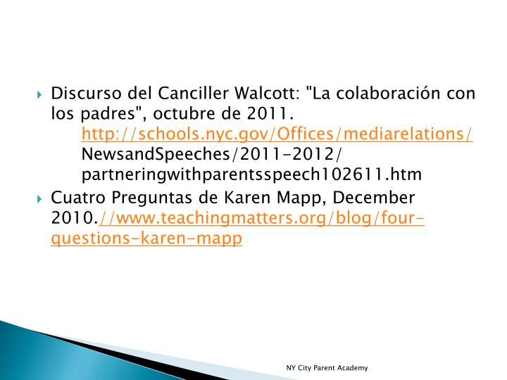 """Discurso del Canciller Walcott: """"La colaboración con los padres"""", octubre de 2011."""