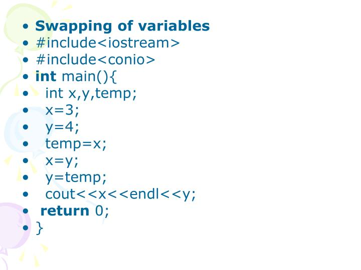 Swapping of variables