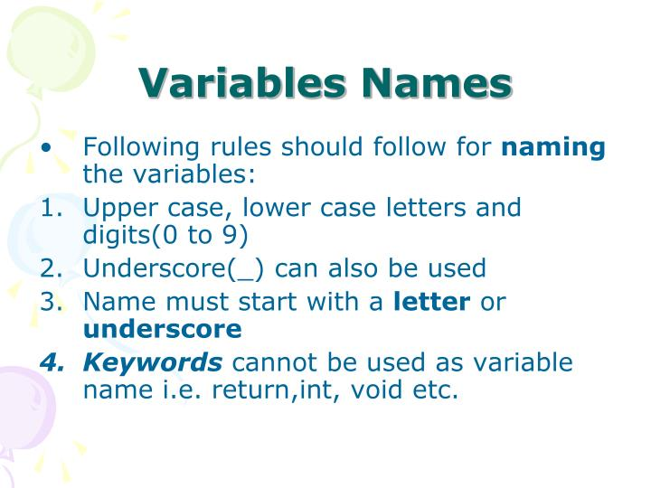Variables Names