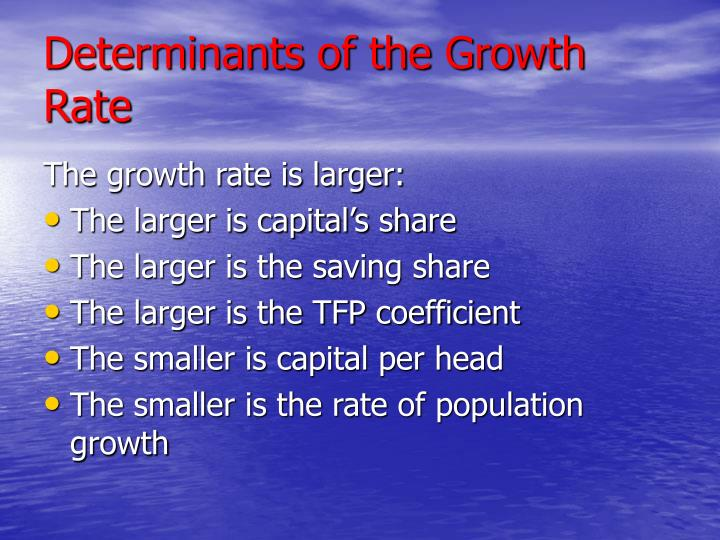 Determinants of the Growth Rate
