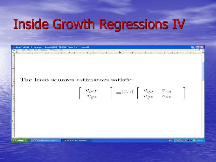 Inside Growth Regressions IV