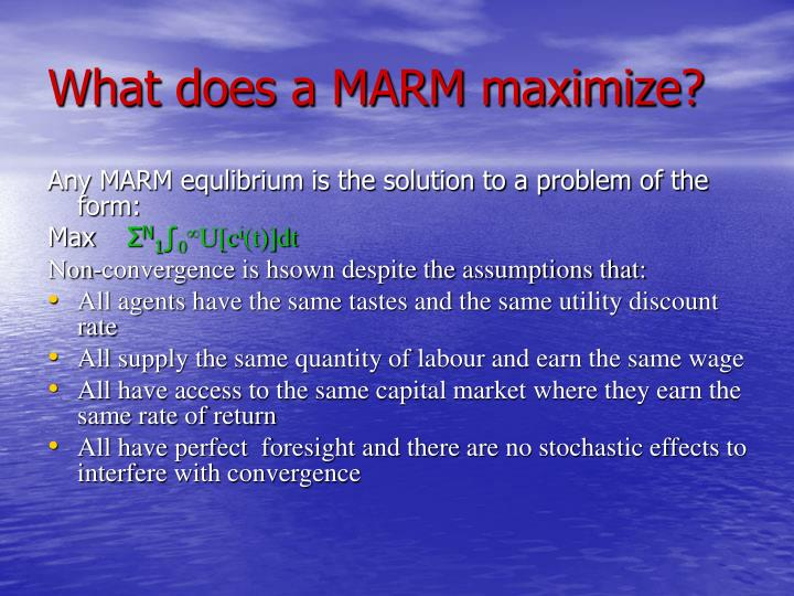 What does a MARM maximize?