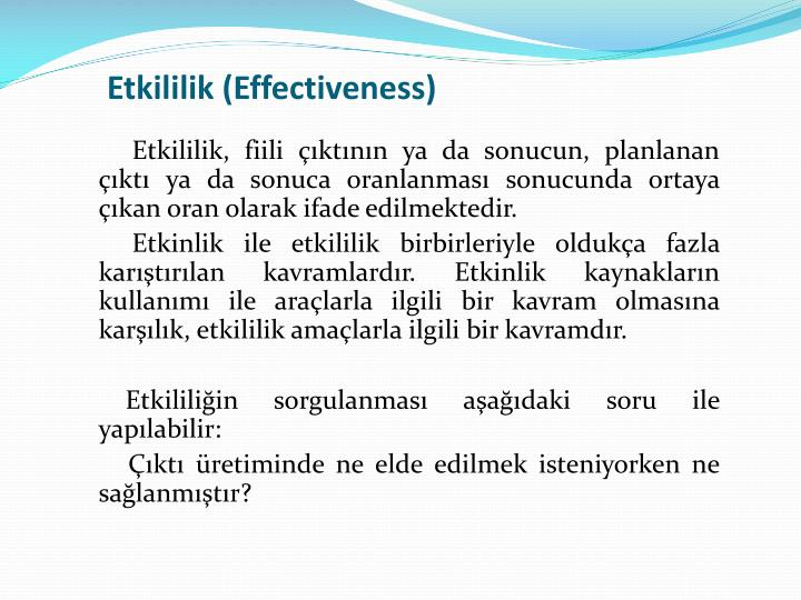 Etkililik (Effectiveness)